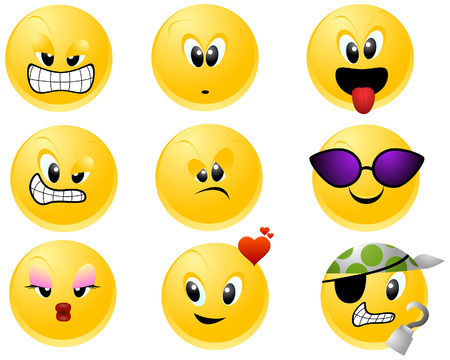 smirk: Smileys Icons with Clipping Path Illustration