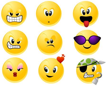 gesichtsausdruck: Smileys-Ikonen mit Beschneidungspfad