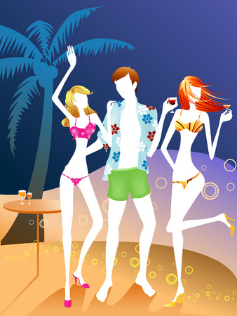 Illustration of a Beach Party Vector