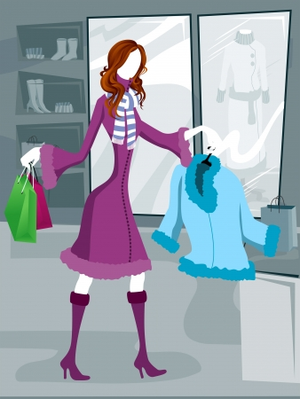 winter woman: Illustration of Winter Shopping