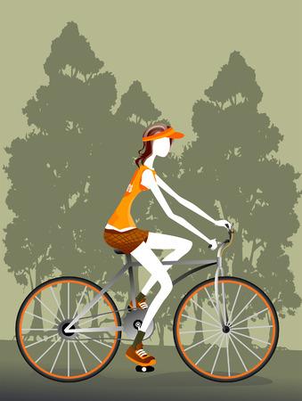 bike vector: Ilustraci�n de una mujer Ciclismo