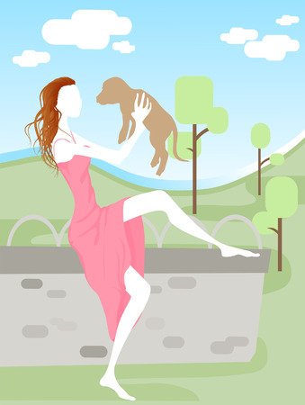 Illustration of a Woman with a Dog Vector