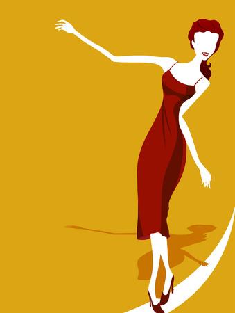 balancing: Illustration of a Woman Balancing Herself Illustration