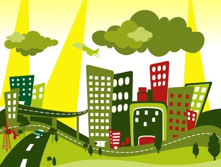 メトロポリス: 街並みのイラスト  イラスト・ベクター素材