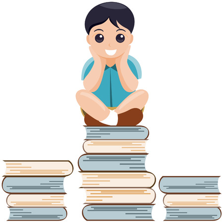 Boy on Books with Clipping Path Vector