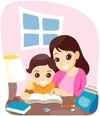 assignments: Mom Teaching her Son with Clipping Path