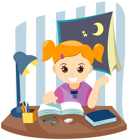 Child Studying with Clipping Path
