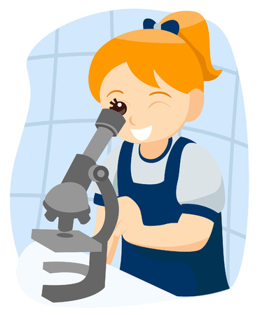 microscope: Child looking through a Microscope with Clipping Path Illustration
