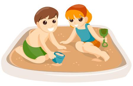enfant maillot de bain: Enfants jouant dans un bac � sable avec chemin de d�tourage