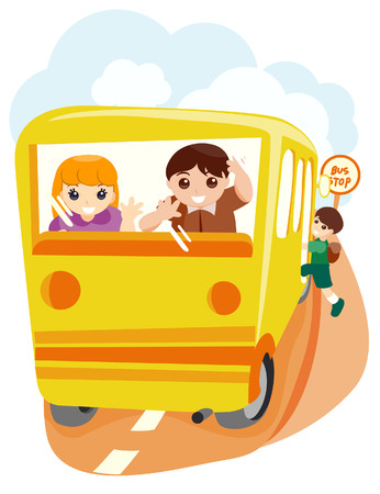 Children at the Bus Stop with Clipping Path Vector