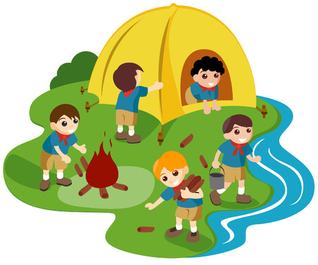 camps: Camping Illustration with Clipping Path