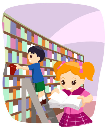 Children at the Library with Clipping Path Stock Vector - 3289297