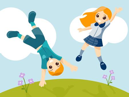 school girl uniform: Bambini che giocano in the Fields