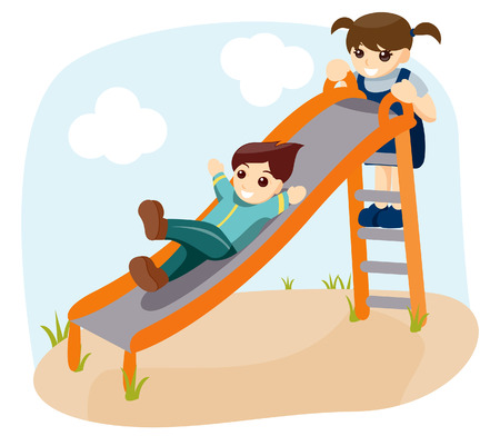 Children Sliding with Clipping Path Illustration