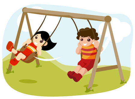 outdoor activities: Children at the Park with Clipping Path Illustration