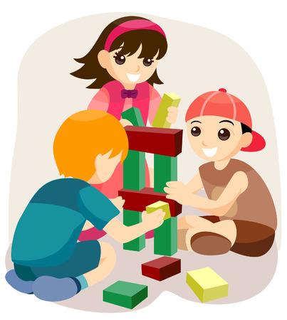 bambini che giocano: Bambini che giocano con Building Blocks con percorso di ritaglio  Vettoriali