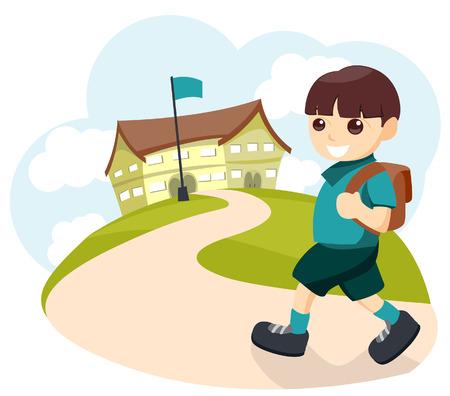 Aller à l'école avec chemin de détourage Banque d'images - 3289255
