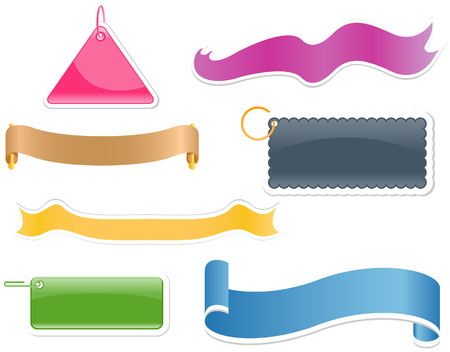Webpage Elements (Ribbons and Tags) with Clipping Path Vector