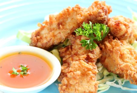 Chicken Strips with Vegetables and SauceDip