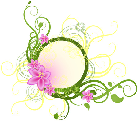 vine leaf: Illustration of Floral Frame Design Elements Illustration