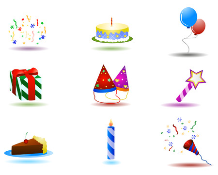 Birthday Icons with Clipping Path Stock Vector - 3329851