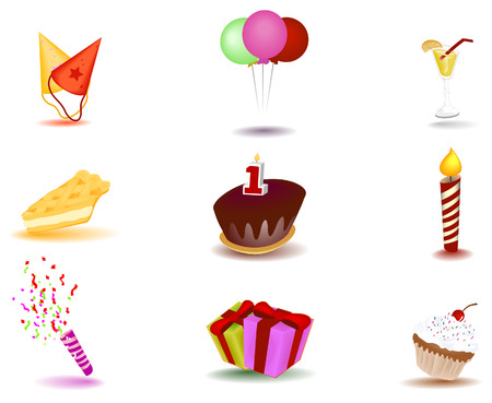 Birthday Icons with Clipping Path Stock Vector - 3329858