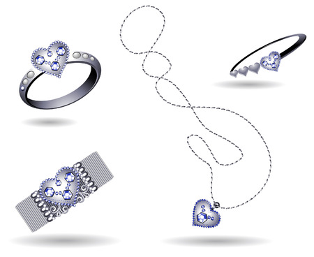 Jewelry Icons with Clipping Path Vector