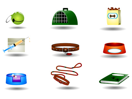 Pet iconos con saturación camino  Ilustración de vector