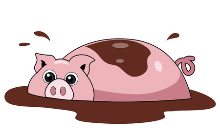 Pig Illustration with Clipping Path Vector