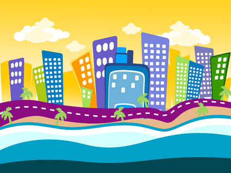 design elements vector: Illustration of a Summer Cityscape