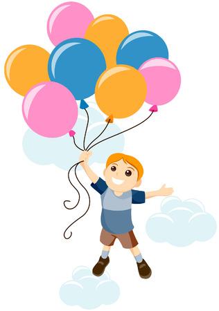 Boy Carried by Balloons with Clipping Path Vector