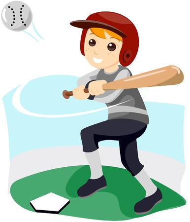 enfant qui joue: Un enfant joue au baseball avec un masque vectoriel