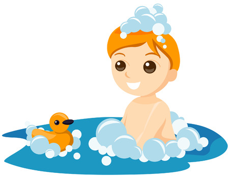 cleanliness: Boy Bath with Clipping Path