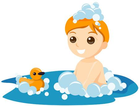 Boy Bath with Clipping Path