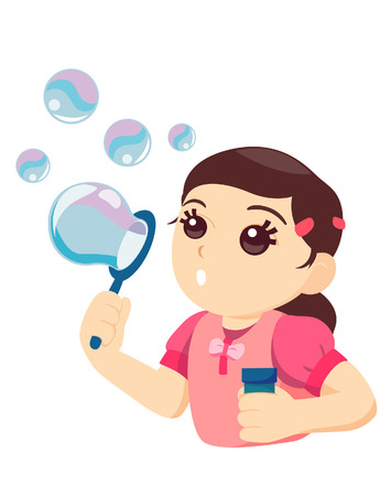 Blowing Bubbles with Clipping Path Stock Vector - 3374619