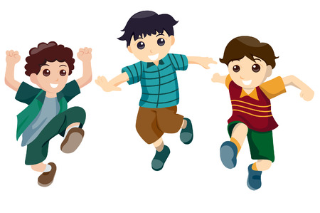 Boys Jumping with Clipping Path Stock Vector - 3374624