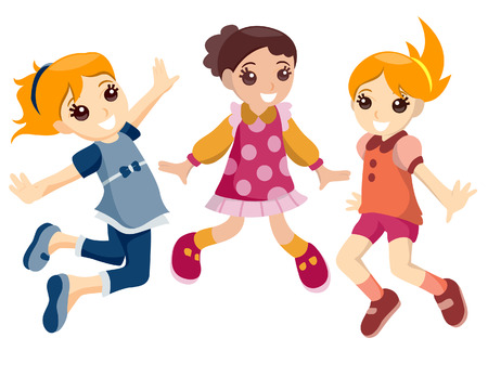 jump up: Girls Jumping with Clipping Path Illustration