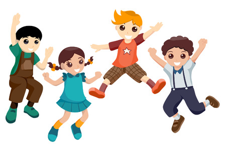 Boys and Girl Jumping with Clipping Path Vector