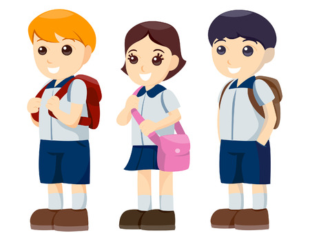 classmate: Children Standing in Line with Clipping Path