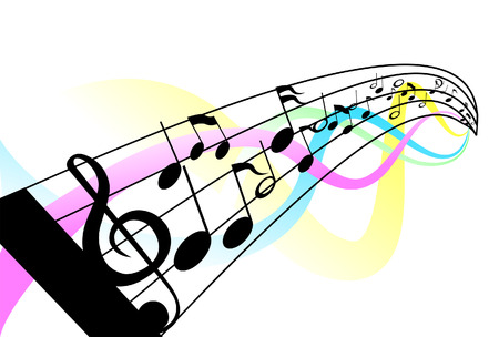 Musical Notes and Staff with Clipping Path Illustration