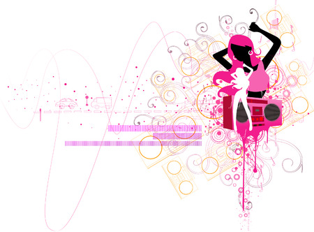Girl Dancing with Clipping Path Stock Vector - 3374641