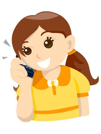 Cellphone Kid  Vector