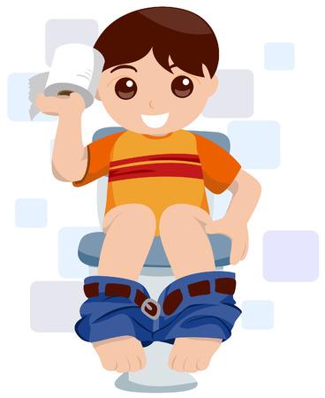 bowel: Bambino al WC Vettoriali