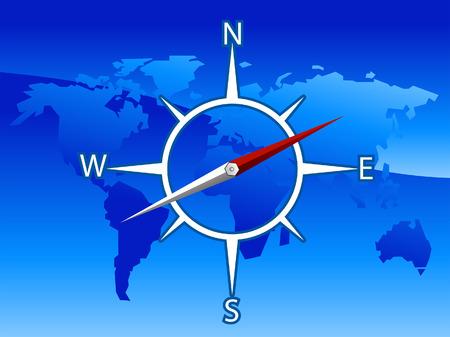 World Compass Illustration Vector