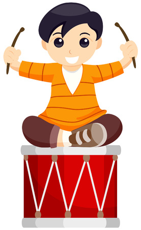 Child Playing Drums with Clipping Path