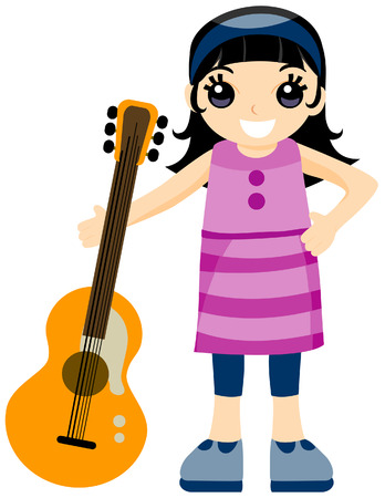 jamming: Young Girl with Guitar with Clipping Path