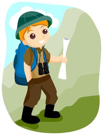 Boy Hiking with Clipping Path Stock Vector - 3464271