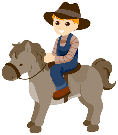 Child on Horse with Clipping Path