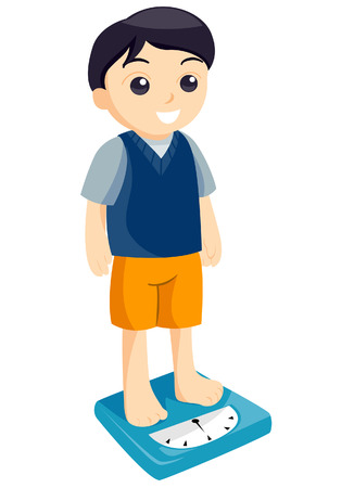 measuring: Boy Measuring Weight with Clipping Path