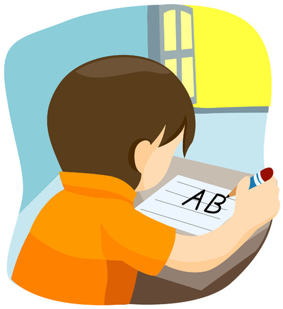 Boy Writing with Clipping Path Vector